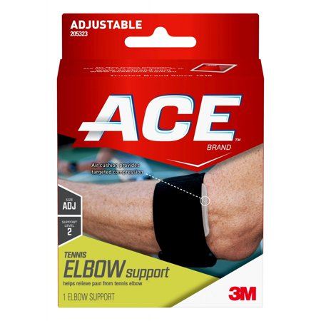 ACE Brand Tennis Elbow Support, Adjustable, Black,