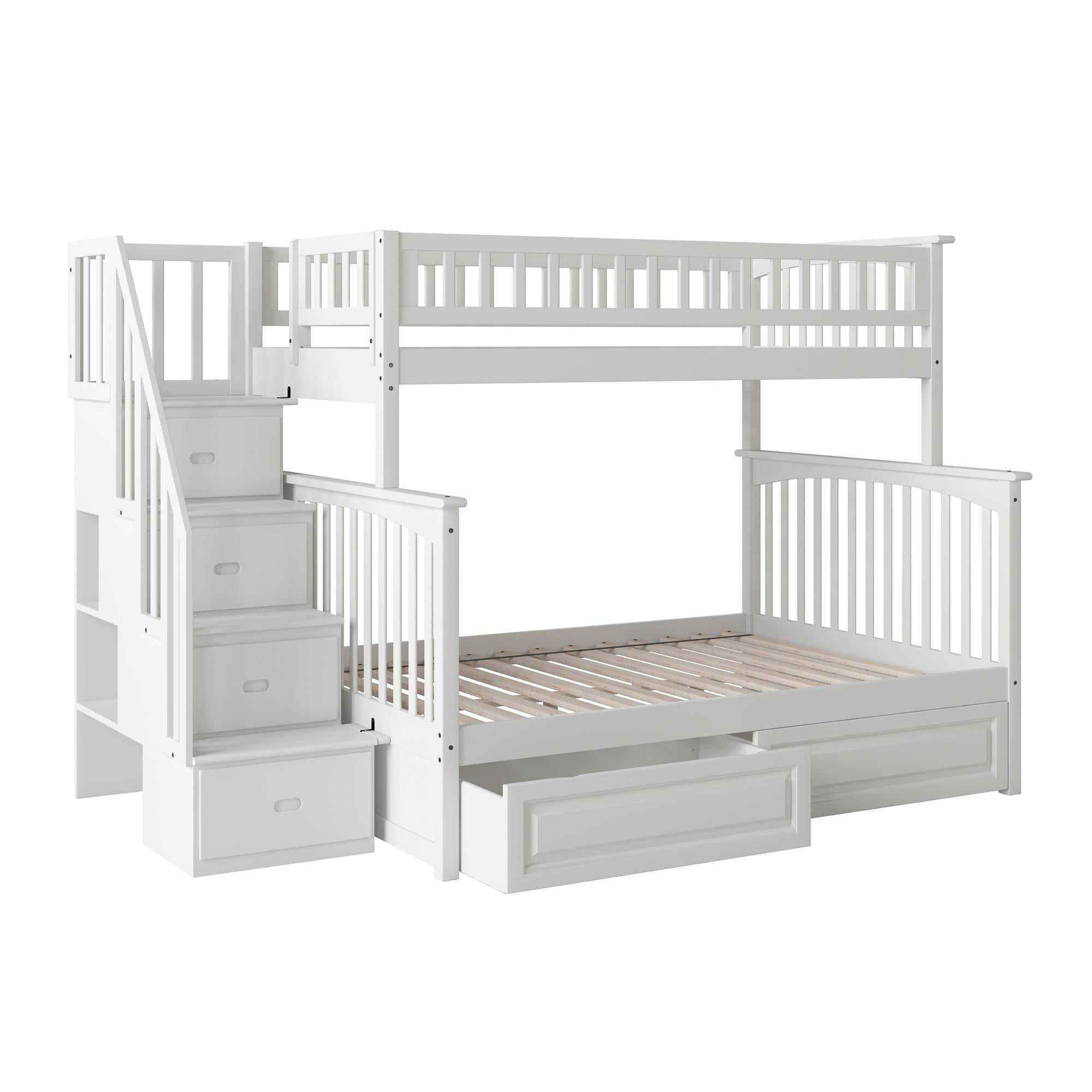 Picture of: Columbia Staircase Bunk Bed Twin Over Full With 2 Raised Panel Bed Drawers In White Walmart Com Walmart Com