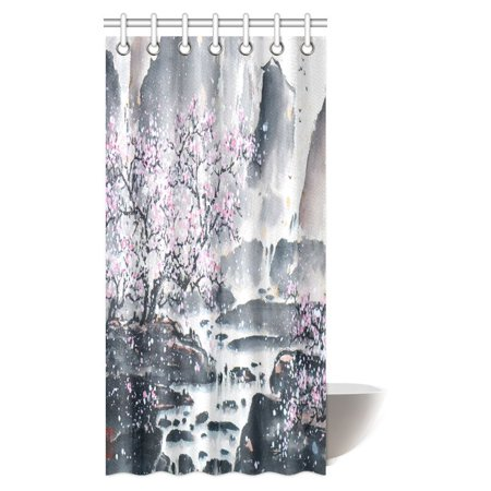 MYPOP Asian Shower Curtain, Traditional Chinese Painting Landscape ...