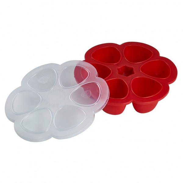 BEABA Multiportions Silicone Baby Food Freezer Tray, 3 oz, Cherry