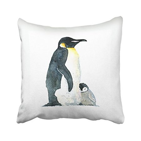 WinHome Cute Penguin Mother And Kid Watercolor Lovely Painting Decorative Pillowcases With Hidden Zipper Decor Cushion Covers Two Sides 20x20 inches