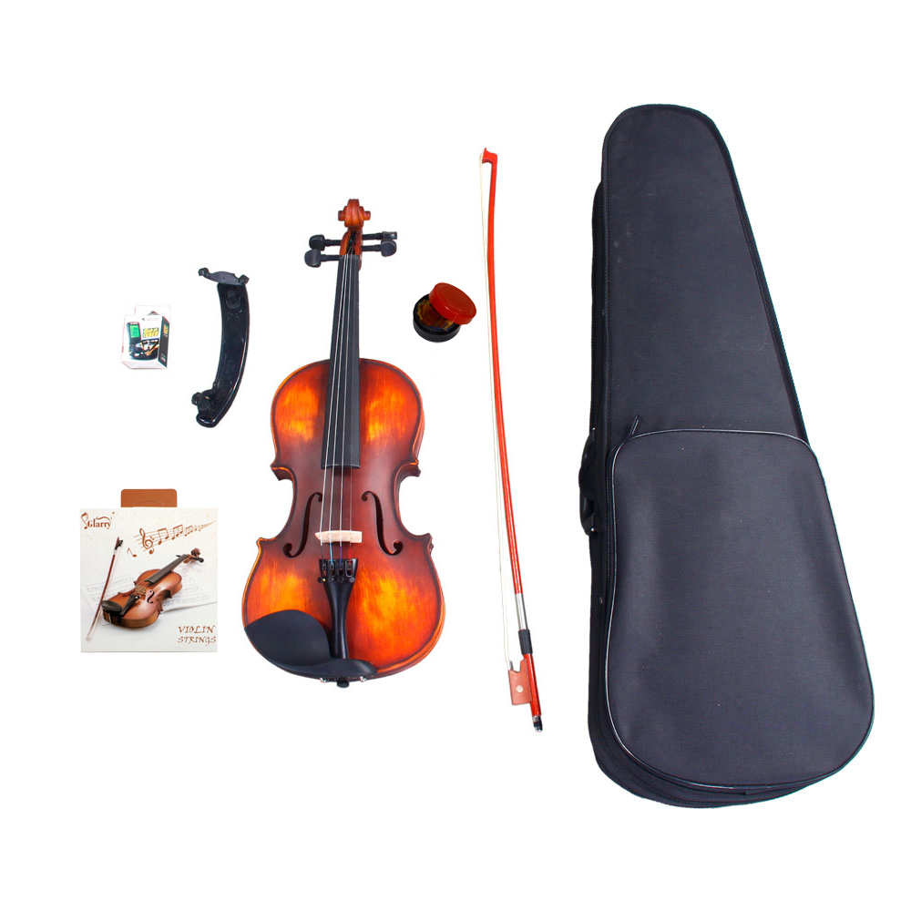 Zimtown Glarry 3/4 Solid Wood Violin with Box, Bow, Rosin, Shoulder Rests, Electronic Tuner and Extra Strings, Dark Goldenrod - image 6 de 6