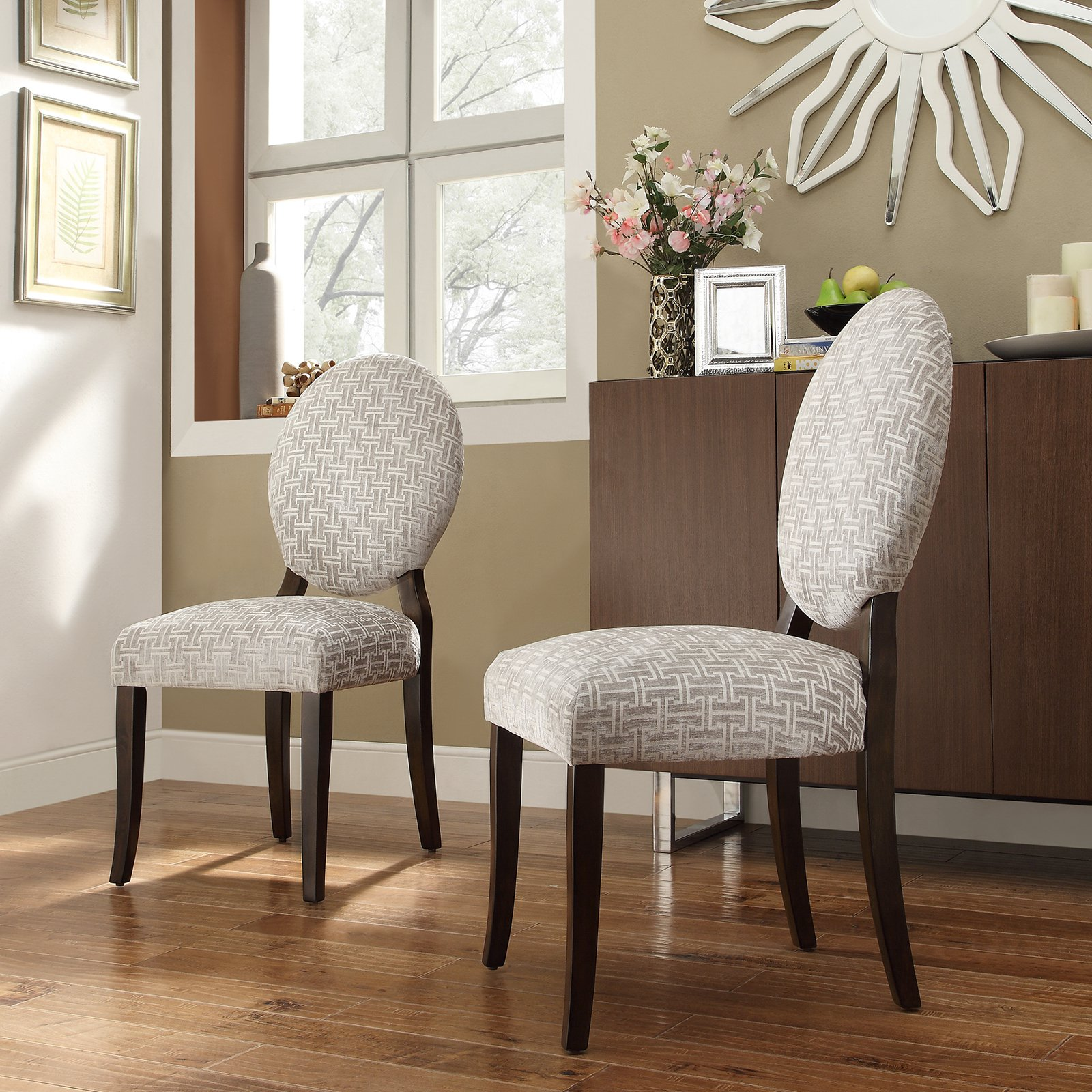 Inspire Q Blanca Round Back Gray Chain Print Fabric Dining Chairs - Set of 2