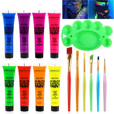 UV Glow Blacklight Face and Body Paint 8 Colors Fluorescent Pigment 6pcs Paint Brushes with a Palette Set