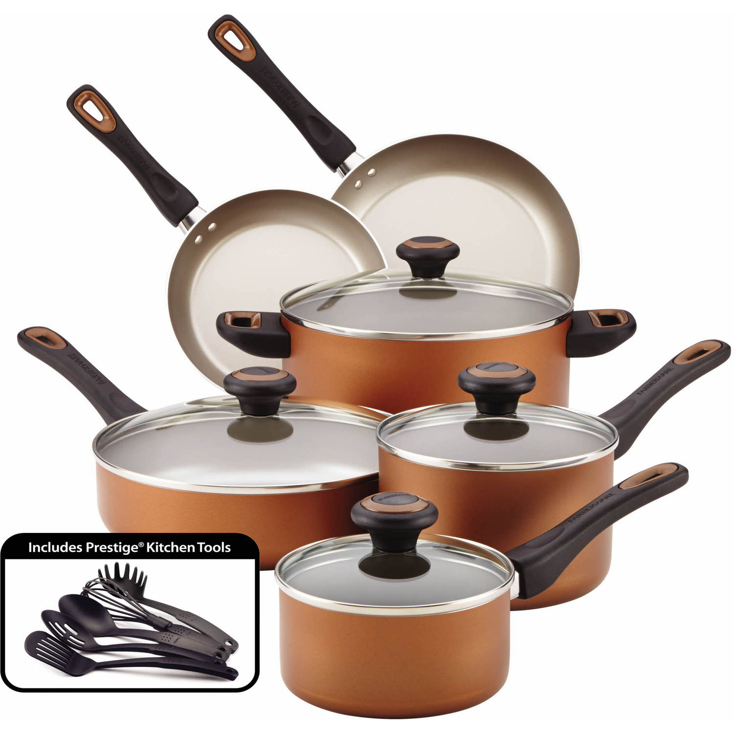 Meyer Corporation Farberware High - Performance Nonstick 15 - Piece Cookware Set, Copper