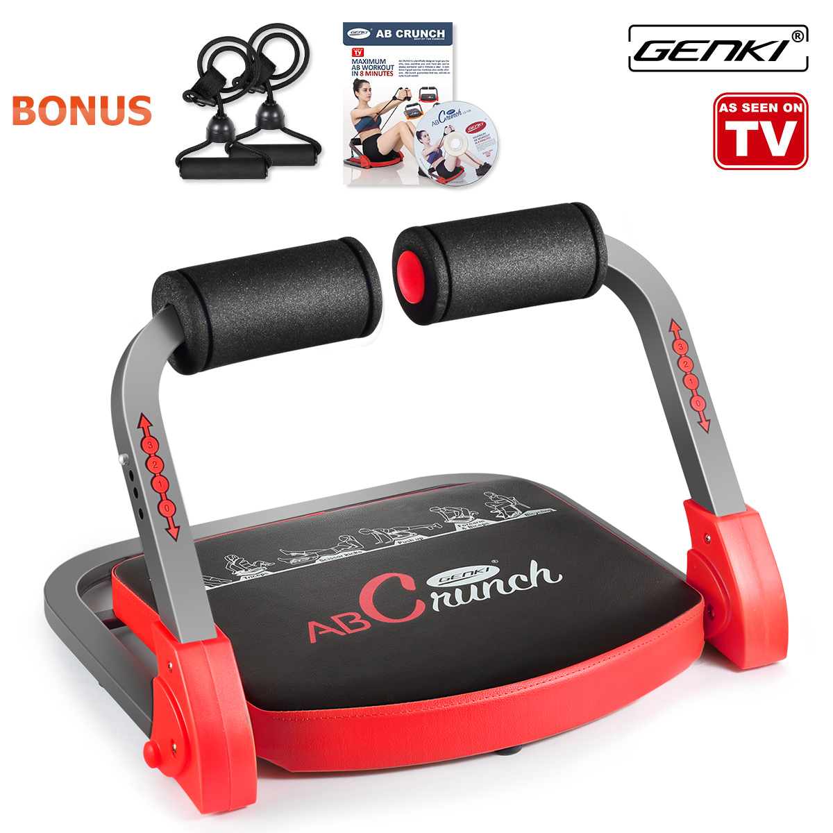 Genki ABS Machine Pro Core Exercise AB Abdominal Workout Fitness Equipment with Guide DVD, bands, poster, 9 IN 1, 3... by Genki