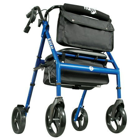 Hugo elite rollator rolling walker with seat, backrest and saddle bag, blue