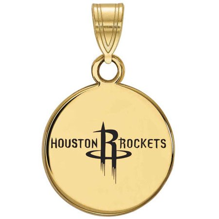 NBA Houston Rockets 14kt Gold-Plated Sterling Silver Small Enameled Disc (Nba Jewelry)