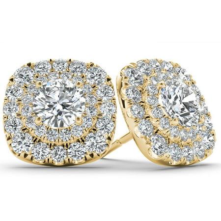1/2 Carat T.W. Diamond 10kt Yellow Gold Double-Halo Stud Earrings