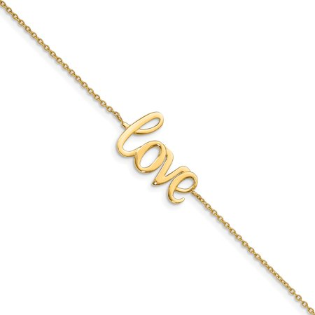 Solid 14k Yellow Gold Heart Polished LOVE Bracelet 7