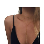 Fashion Trendy Alloy Gold Choker Multi-layer Necklace Gift Women Girl Boho Layering Chain Set Lady Jewelry