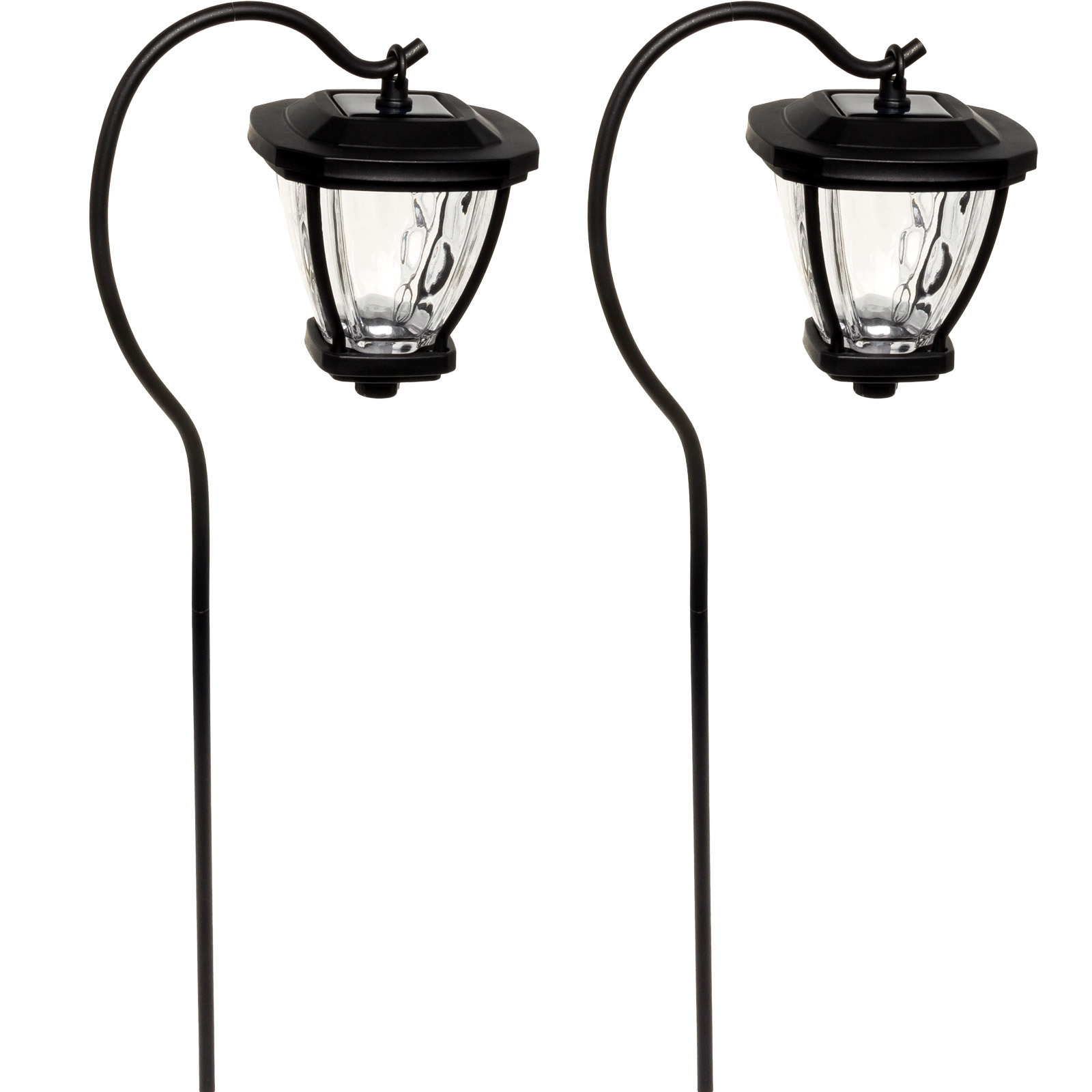 FUSION New Black Solar LED Shepherds Hook Hanging Lantern Path Lights (2 Pack) by Fusion