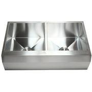 eModern Decor Ariel 36'' L x 22'' W Stainless Steel 16 Gauge 50/50 Double Bowl Farmhouse Kitchen Sink