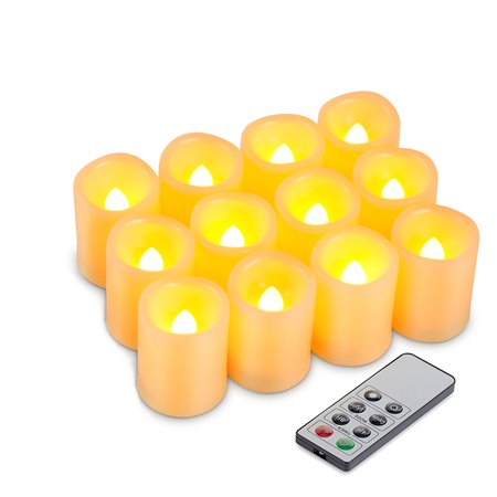 Kohree 12 Set Flameless Battery Operated LED Pillar Candles Unscented Ivory Votive Remote Candles with Remote (Battery Pillar Candles)