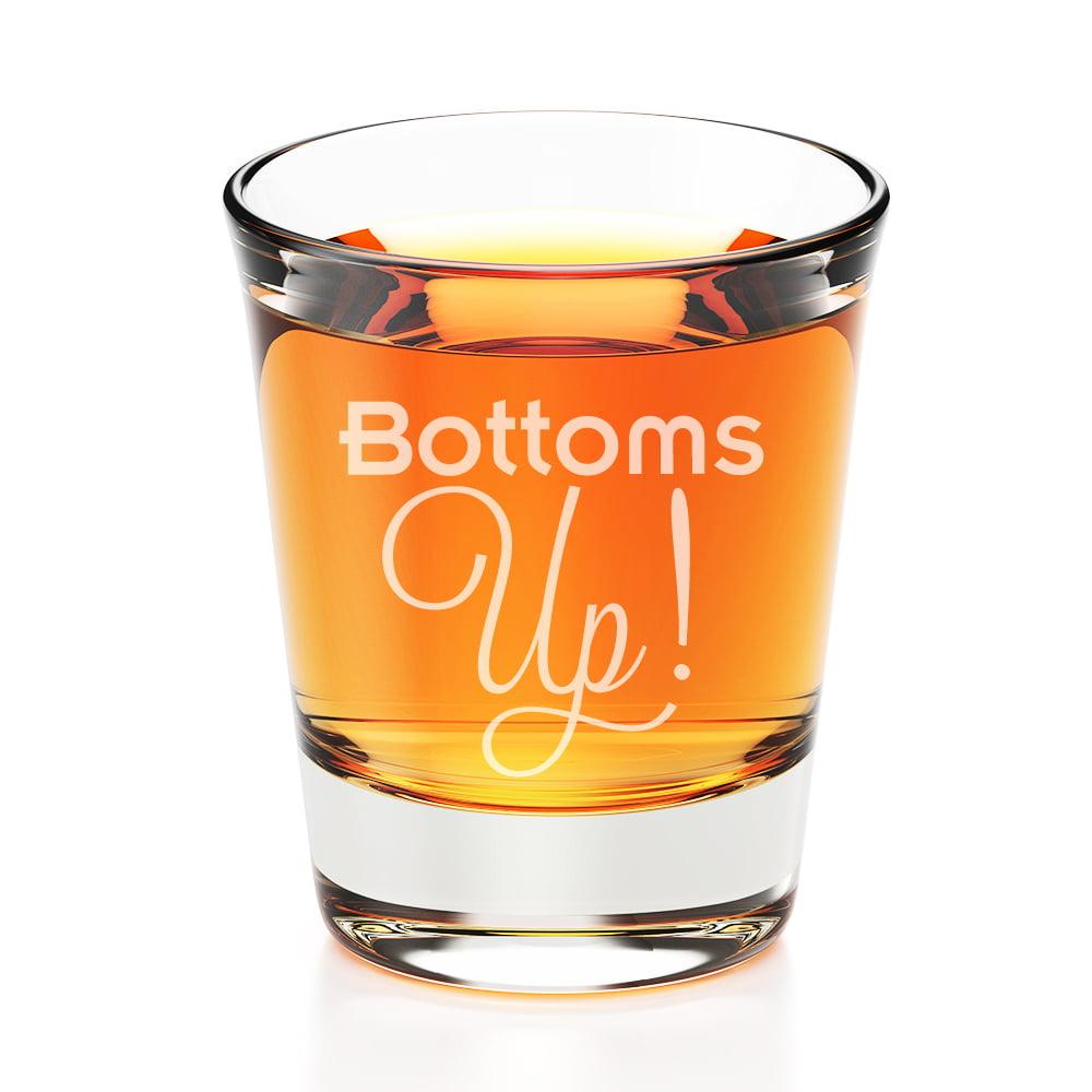 Bottoms Up Engraved Fluted Shot Glass
