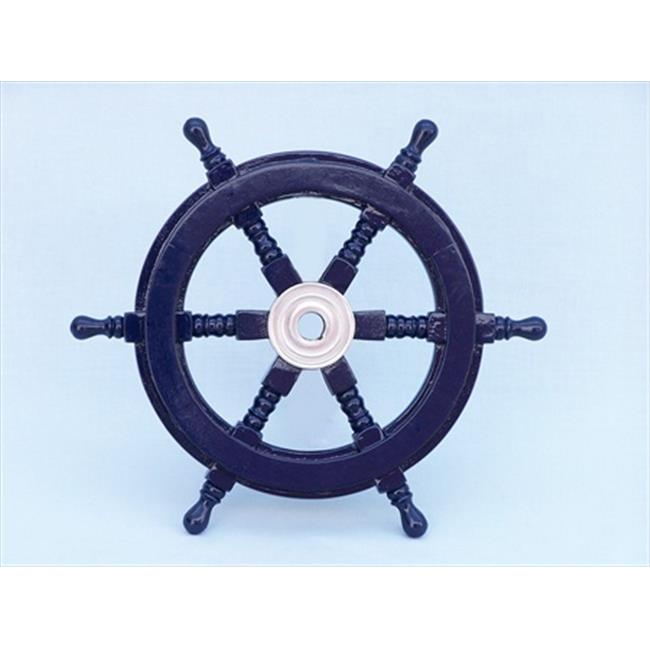 Handcrafted Model Ships SW12CH-D blue Deluxe Class Dark Blue Wood and Chrome Ship Steering Wheel 12 in. Decorative Accent