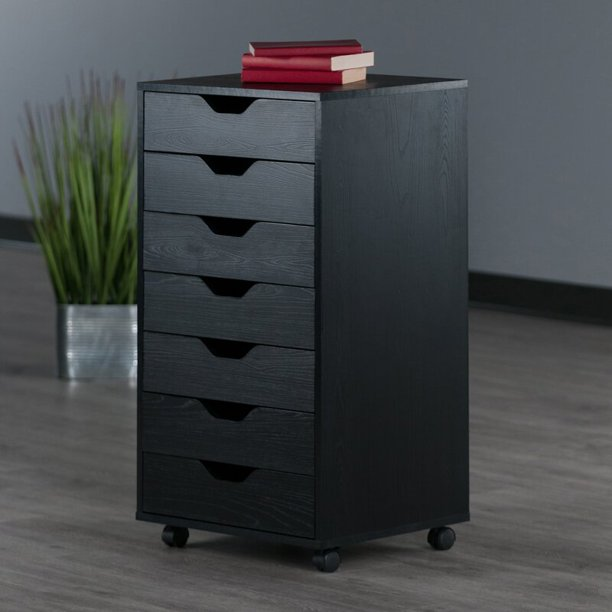 Rolling Filing Cabinet, Wooden 7-Tier File Cabinet for Office