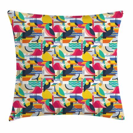 Birds Throw Pillow Cushion Cover, Futuristic Design of Contrast Colored Toucan Cockatoo Parrot Flamingo and Pelican, Decorative Square Accent Pillow Case, 18 X 18 Inches, Multicolor, by Ambesonne