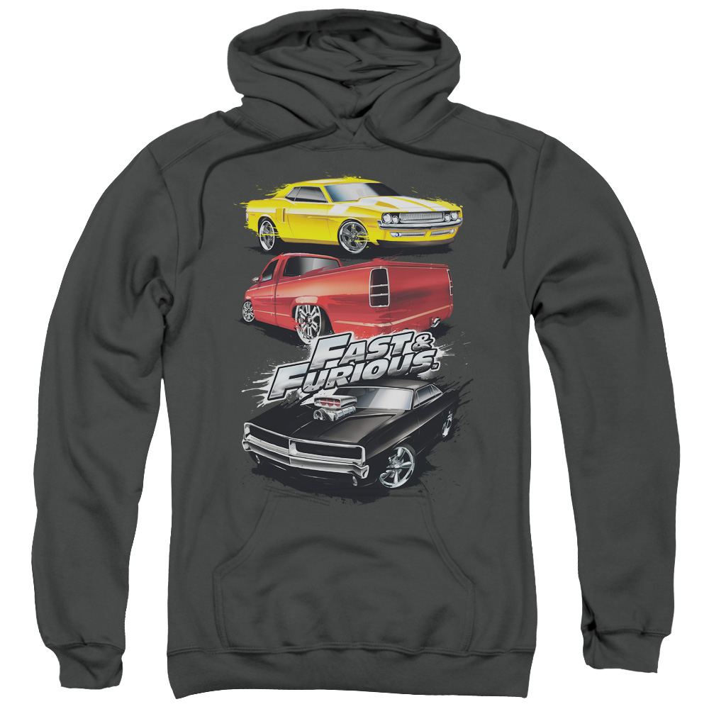 The Fast and the Furious Muscle Car Splatter Mens Pullover Hoodie