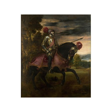 Equestrian Portrait of Charles V of Spain (1500-155), 1548 Print Wall Art By Titian (Tiziano (Equestrian Portrait)