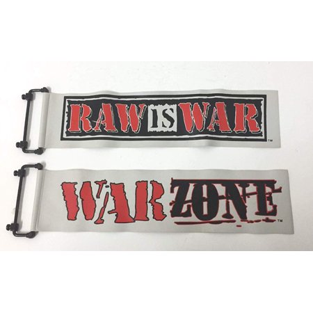 WWE WWF Entrance Stage Replacement Banners Raw is War & War Zone Toy Banners