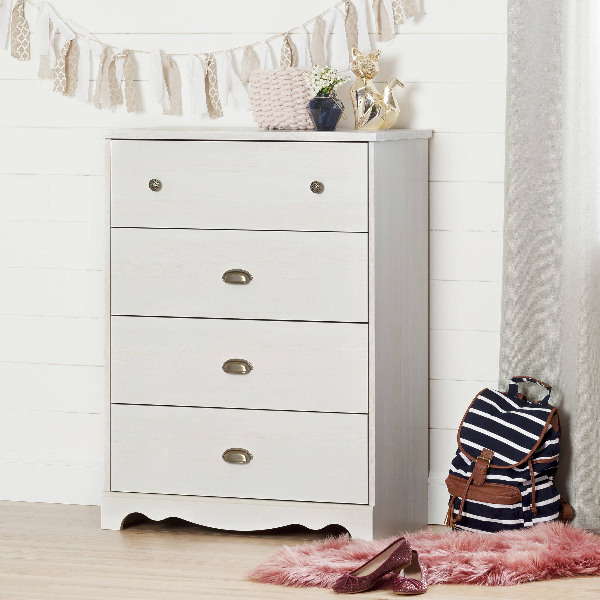 South Shore Caravell 4-Drawer Chest, White Wash by South Shore