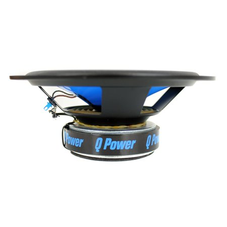 QPower 6.5 Inch 500 Watt 2 Way Blue Car Audio Coaxial LED Speakers (4 Speakers)