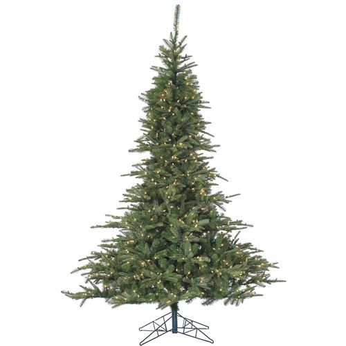 Fraser Hill Farm Pre-Lit 7.5' Cluster Pine Artificial Christmas Tree with Multi-Color LED String Lighting