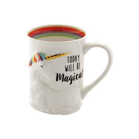Enesco Today Will Be Magical Sculpted Stoneware Unicorn Mug - White with Rainbow Colors - 16 (16 Ounce Team Color)