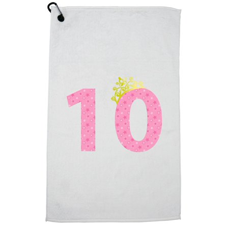 10th Birthday Tiara - Pink Large Five with Stars - Gift Golf Towel with Carabiner - Golf Bag Towel Clip