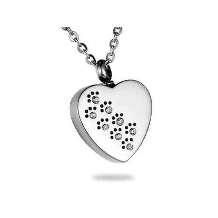 Crystal Dog Paw Print on Heart Cremation Jewelry Keepsake Memorial Urn Necklace