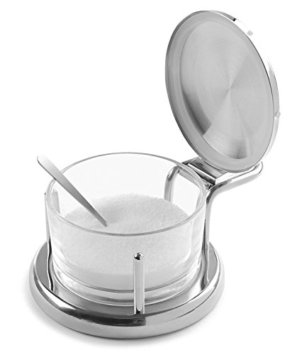 Modern Innovations Stainless Steel 18 8 & Glass Salt Server with Lid and Spoon Cheese Bowl and Condiment... by Modern Innovations