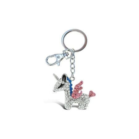 Aqua79 Crystal Charm Keychain, Rhinestone Silver Women Key Ring - Unicorn