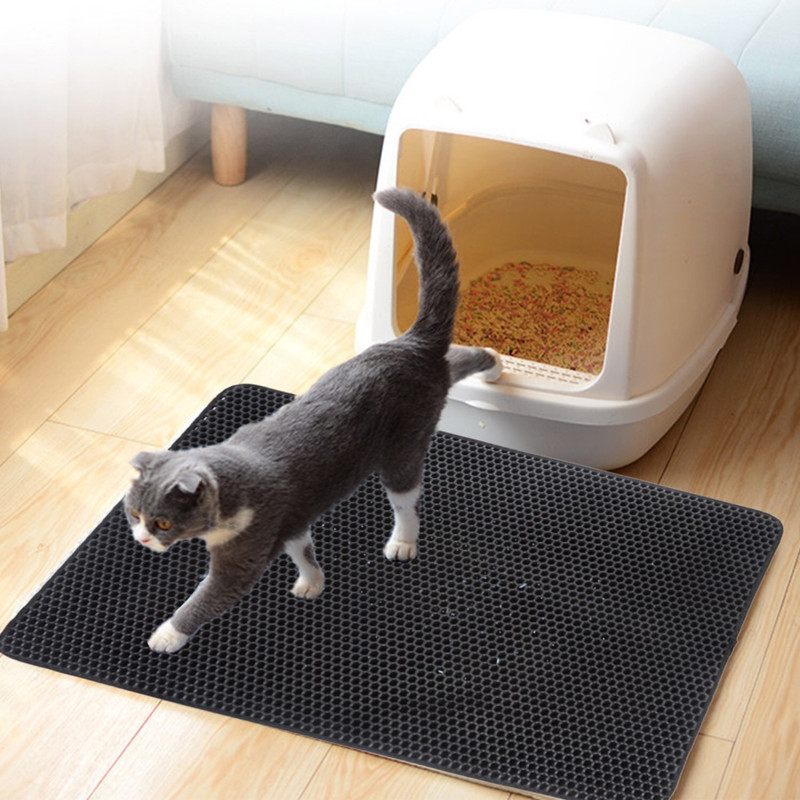 Waterproof Double Layer EVA Material BPA Free and Washable Pet Litter Box Mat 75 * 55 cm JUNSHUO Cat Litter Mat Extra Large 29.5 X 21.65 Litter Trapping Mat with Honeycomb Structure
