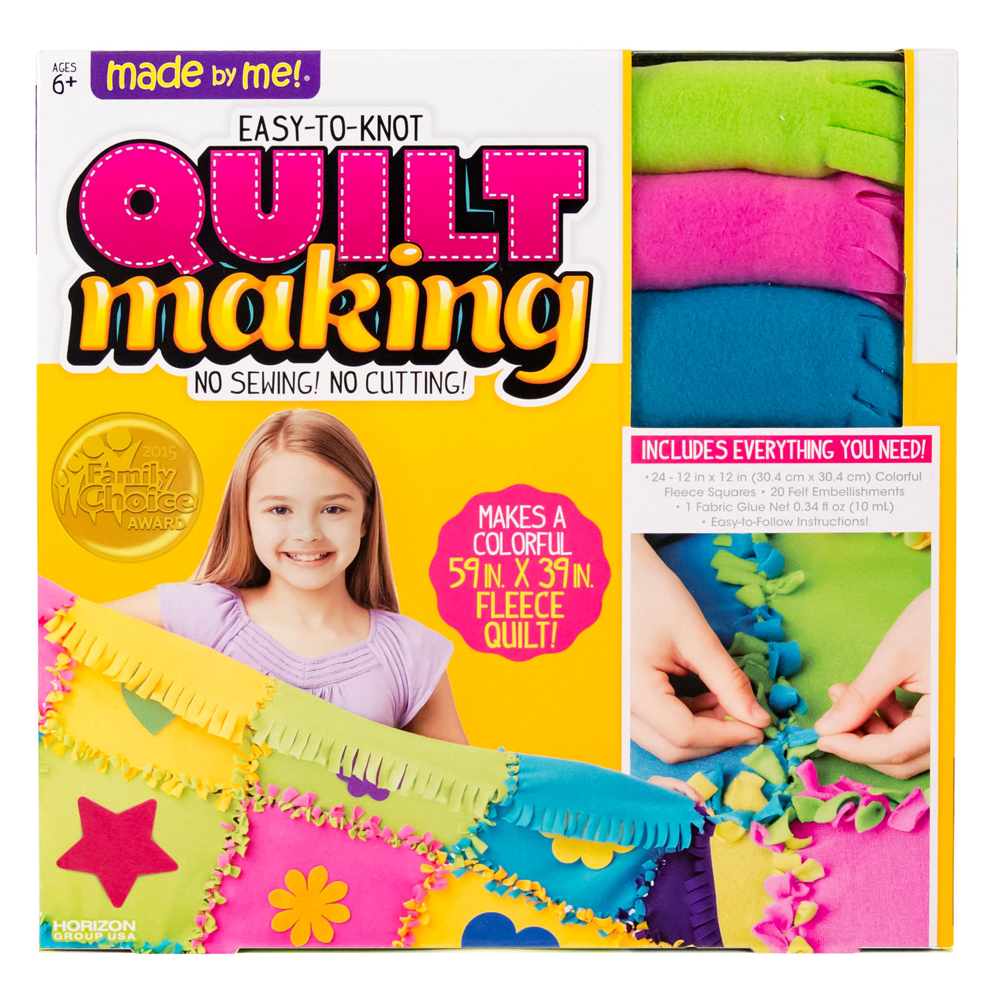 Made By Me Fleece Knotted Quilt Making Kit by Horizon Group USA