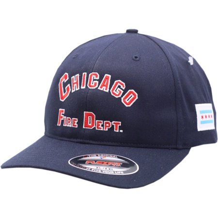 Arch Logo Hat - Chicago Fire Department Flex Fit Hat Arched Logo W/Chicago Flag