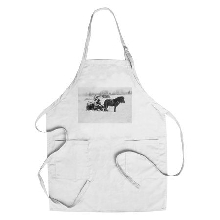 - Children on Pony Drawn Sled Photograph (Cotton/Polyester Chef's Apron)