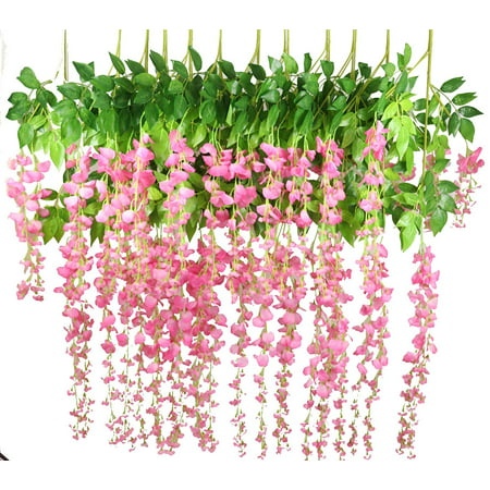 c133b19c3bb Coolmde 12 Pack 1 Piece 3.6 Feet Artificial Fake Wisteria Vine Ratta  Hanging Garland Silk Flowers String Home Party Wedding Decor(Pink)