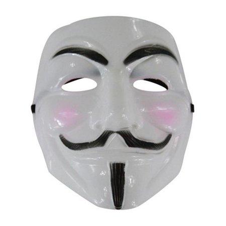White V for Vendetta Guy Fawkes Plastic Costume Mask - One Size