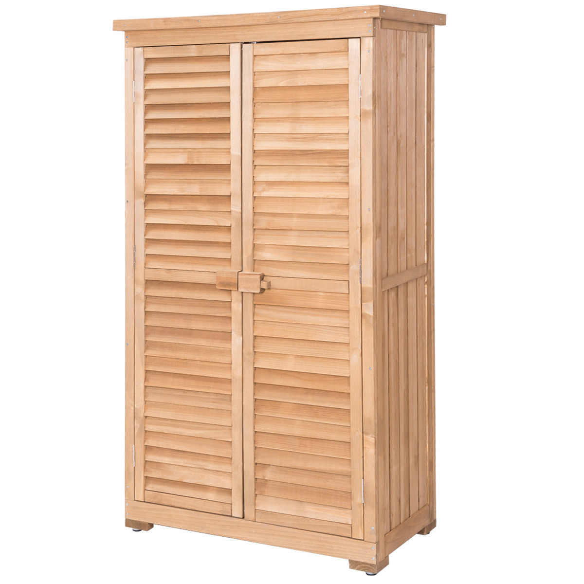 Gymax Outdoor 63'' Tall Wooden Garden Storage Shed Fir Wood Shutter Design Lockers