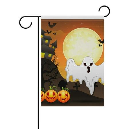 POPCreation Halloween Ghost Design Polyester Garden Flag Outdoor Flag Home Party Garden Decor 28x40 inches