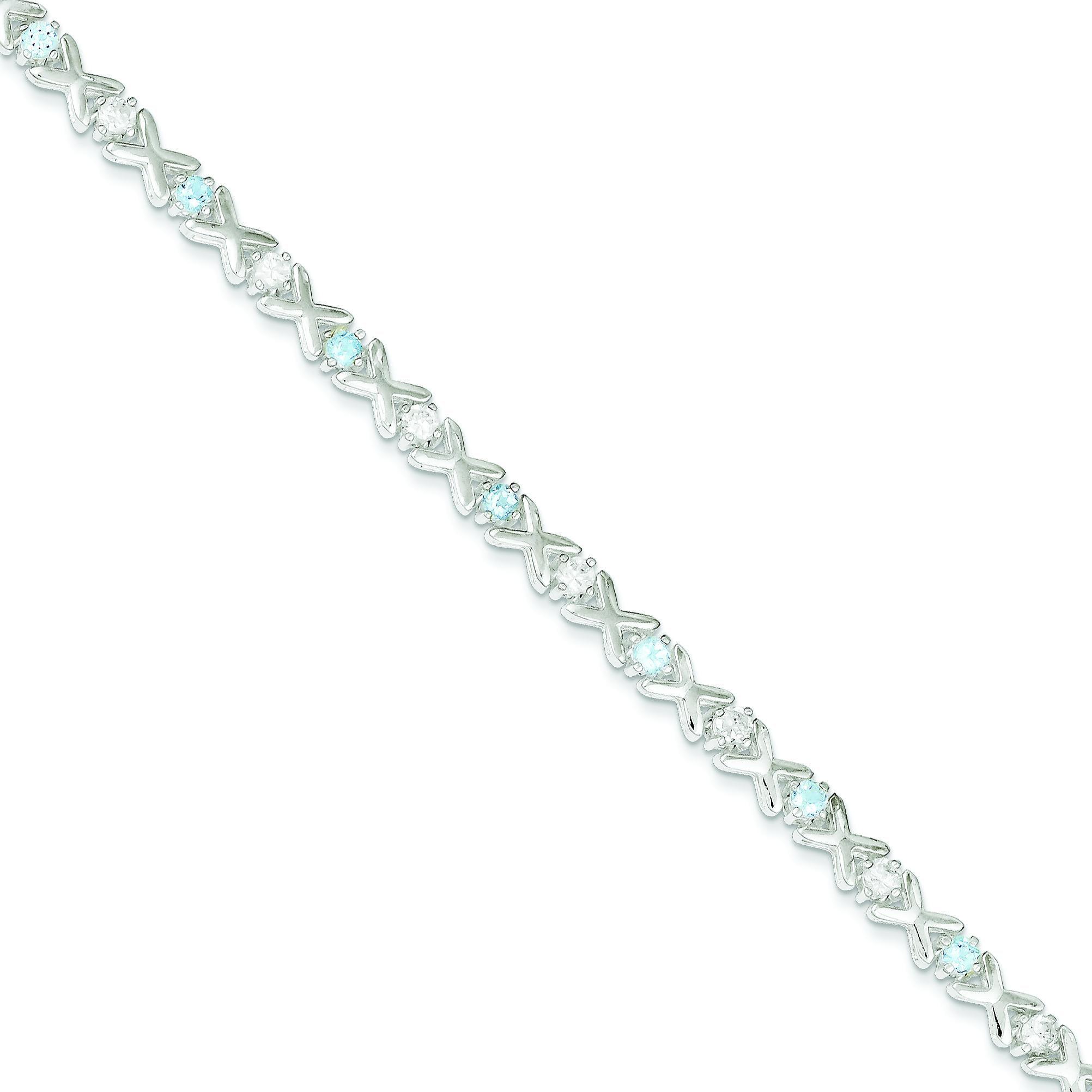 Silver Blue Topaz & Cubic Zirconia Fancy Link Bracelet QX148BT by