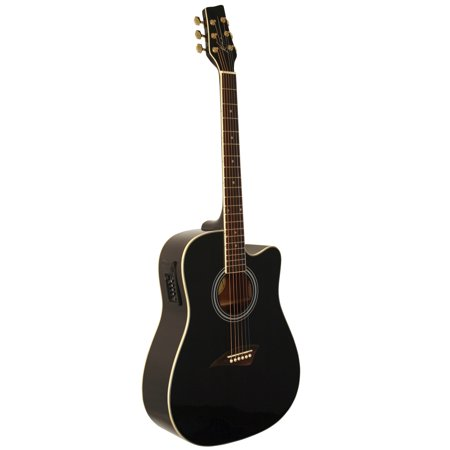 Kona K1EBK Acoustic-Electric Dreadnought Cutaway Spruce Top Guitar With High-Gloss Black Finish (Cutaway Guitar)