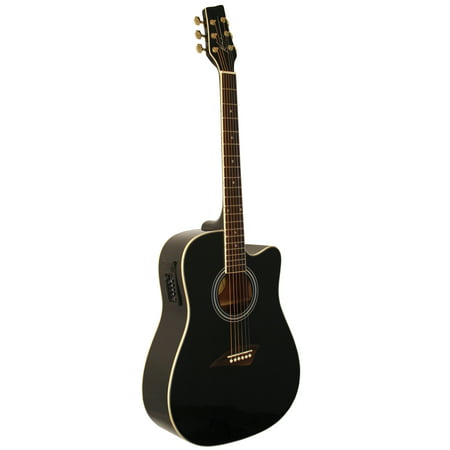 Kona K1EBK Acoustic-Electric Dreadnought Cutaway Spruce Top Guitar With High-Gloss Black Finish Black Cutaway Acoustic Guitar