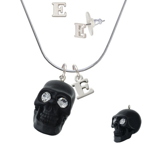 Resin Large Matte Black Skull with Crystal Eyes - E Initial Charm Necklace and Stud Earrings Jewelry Set