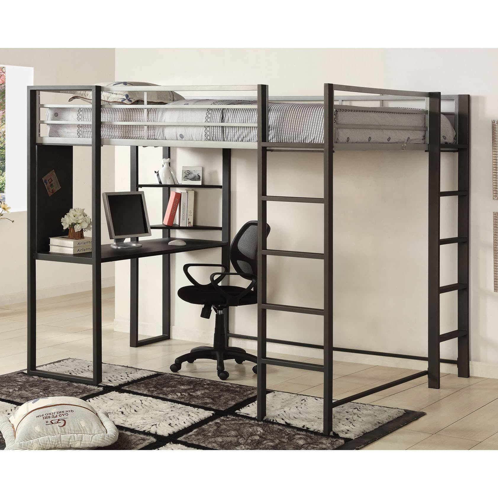 Furniture of America Claremonte Modern Gunmetal Loft Bed with Workstation by FOA