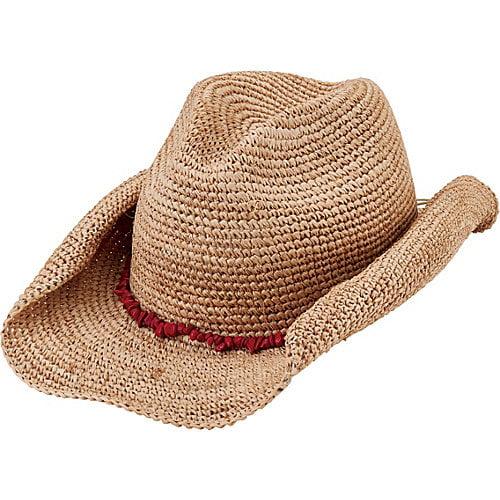 San Diego Hat Crochet Raffia Cowboy Hat with Turquoise Bead Trim