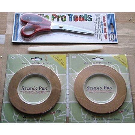 - Studio Pro Stained Glass Complete Copper Foil Tool Kit, 1 roll 1/4 copper foil in dispenser pack By StudioPRO From USA