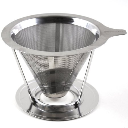 Pour Over Coffee Dripper Cone Made of Food Grade Stainless 18/8 Steel, Reusable Paperless Double Mesh Filter, Makes 1 - 4