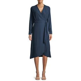 Womens Long Sleeve Sweater Dress Keyhole Neckline Light Blue Dress 40383E